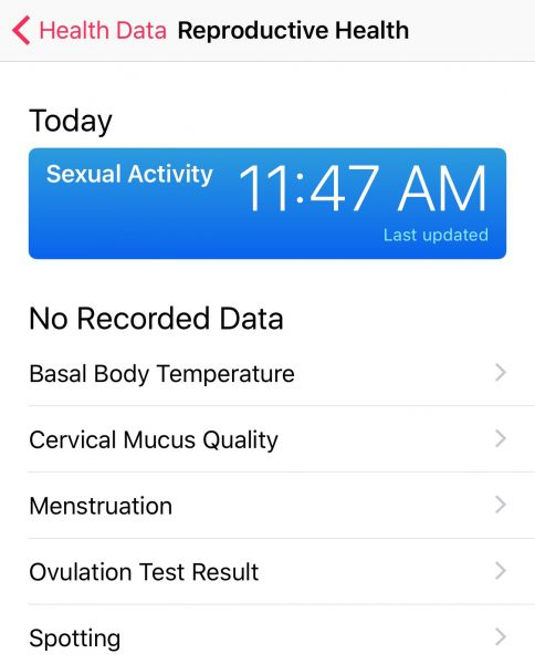 The updated Health app has more options for reproductive health.