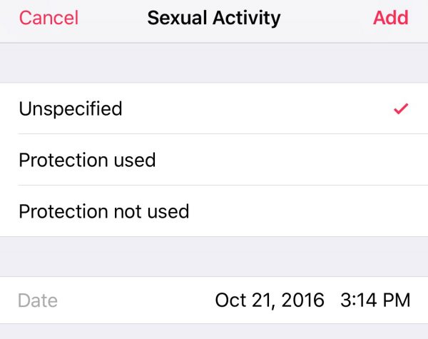The sex tracker is basic, but still useful.